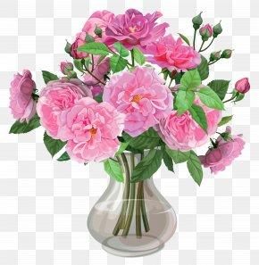 Pink Roses In Vase Transparent Clipart - Vase Flower Bouquet Clip Art PNG