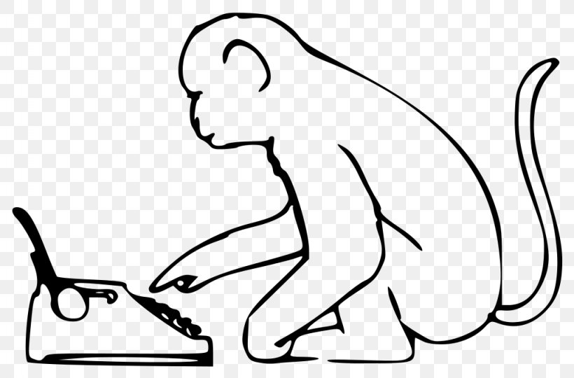 Infinite Monkey Theorem Typing The Infinite Monkey Cage Clip Art, PNG, 1024x675px, Monkey, Almost Surely, Area, Black, Black And White Download Free
