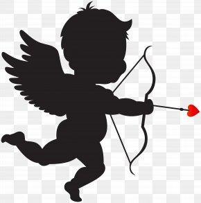 Cupid With Bow Silhouette PNG Clip Art Image - Valentine's Day Cupid Lupercalia Venus Heart PNG