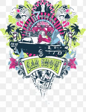 Vector Car And Beauty - Printed T-shirt Clothing PNG