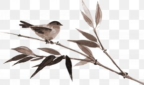Brown Bird Bamboo - Bamboo Ink Wash Painting Drawing PNG