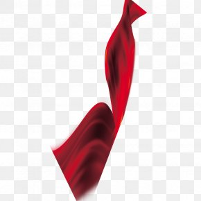 Festive Red Silk Cloth Ribbon Material - Textile Silk Ribbon Red PNG