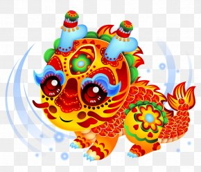 Chinese New Year - Lion Dance Cartoon Chinese New Year Illustration PNG