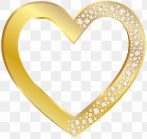 Gold Heart With Diamonds Clip Art Image - Heart Clip Art PNG