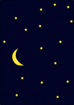 Night Stars Cliparts - Sky Crescent Star Wallpaper PNG