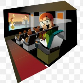 Hand-painted Watch 3D Movies In The Cinema - 3D Film Cinema PNG