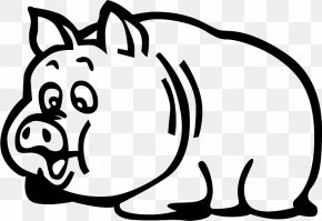 Cartoon Cute Pig Silhouette - Domestic Pig Cartoon McDull PNG