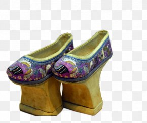 Manchu Pink Flower Pots At The End Of The Cheongsam Shoes - Qing Dynasty Manchu People Cheongsam Convention Folk Costume PNG