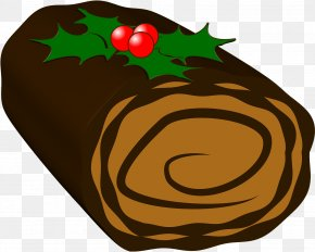 Chocolate Cake - Champagne Yule Log Christmas Cake Clip Art PNG