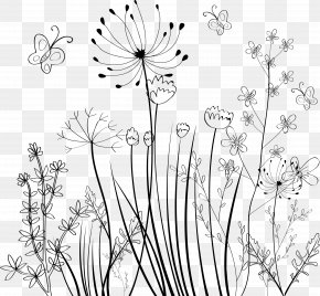 Hand Painted Plants - Flower Black And White Ornament PNG