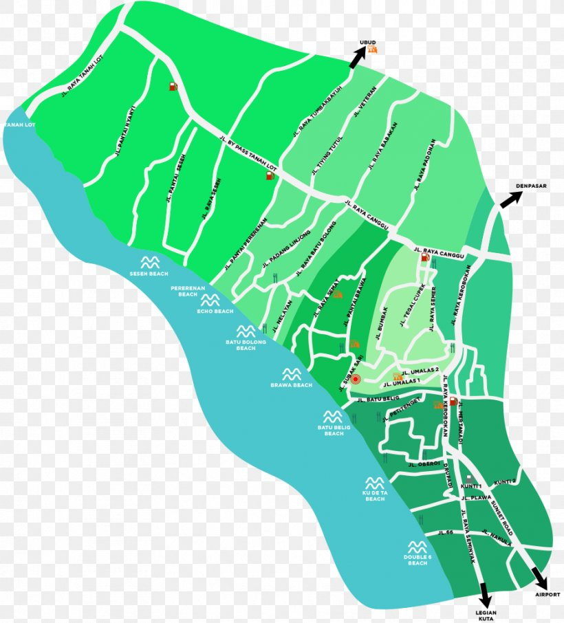 Canggu Kuta Map Kerobokan Pererenan Png 931x1029px Canggu