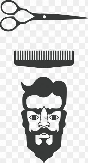 Barber Scissors And Comb Head Man - Comb Barber Scissors PNG