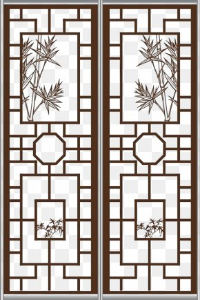 Chinese Style Sub-windows Sliding Door - Window Chinoiserie Door PNG