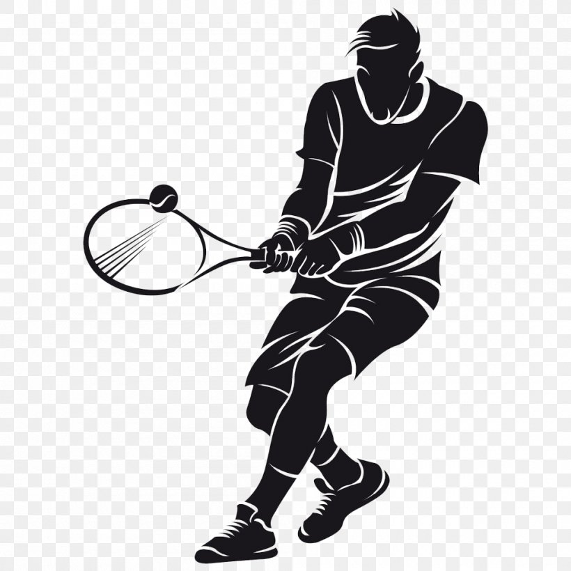 Wall Decal Tennis Sticker Vinyl Group, PNG, 1000x1000px, Tennis, Ball, Black And White, Forehand, Headgear Download Free