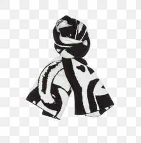 Black And White Knitted Scarf Fight - Scarf White Designer PNG