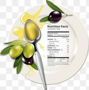 Vector Plate Of Olives And Olive Oil - Olive Oil Food Nutrition Facts Label PNG