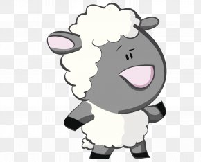 Gray Puzzled Black Goat - Goat Sheep Cartoon PNG