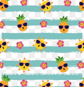 Vector Seamless Pattern Pineapple And Sun - IPhone 7 Pattern PNG