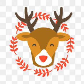 Smiling Reindeer Transparent Vector Background Material - Rudolph Santa Claus Reindeer Christmas PNG