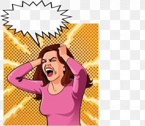 Worry About The Woman - Woman Screaming Stock Illustration Cartoon PNG
