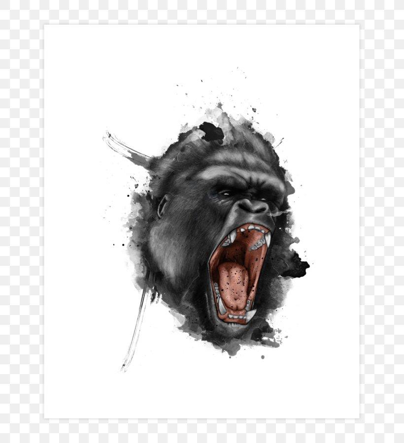 Gorilla Tattoo Flash Drawing Png 740x900px Gorilla Art Body Art Drawing Facial Expression Download Free