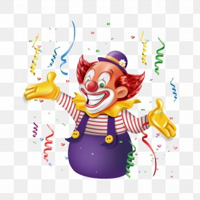Clown And Ribbon - Clown Laughter Illustration PNG
