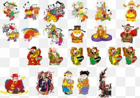 Chinese New Year Chinese Style Cartoon Characters - Chinese New Year Euclidean Vector Illustration PNG
