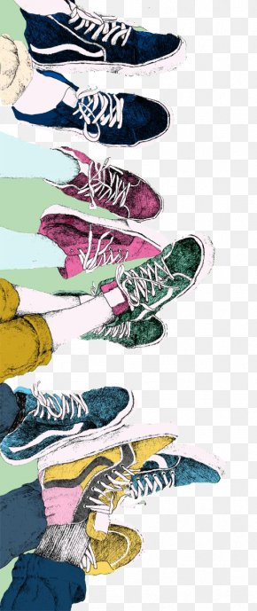 Hand-painted Male Women Wear Shoes - Vans Sneakers Drawing Shoe Illustration PNG