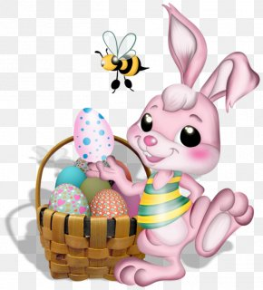 Pink Easter Bunny With Bee Picture - Easter Bunny Cartoon PNG