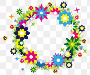 Small Fresh Garland Border - Wreath Flower Watercolor Painting Clip Art PNG