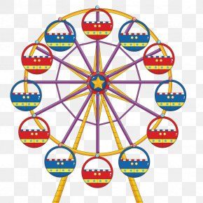 Vector City Ferris Wheel - Ferris Wheel Drawing Clip Art PNG