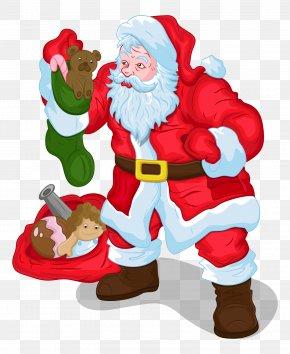 Santa Claus Carries A Gift - Santa Claus Christmas Gift Clip Art PNG