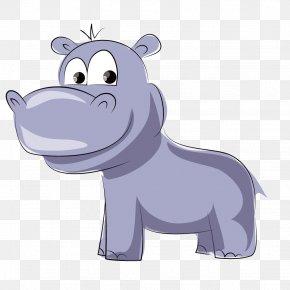 Cartoon Cute Blue Hippo - Dog Hippopotamus Cartoon Animal PNG