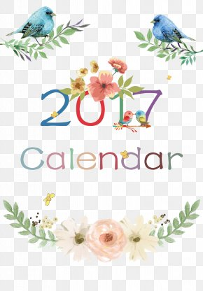 Small Fresh 2017 Calendar Cover - Floral Design Paper Watch Cut Flowers PNG