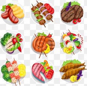 Vector Plate Of Barbecue - Barbecue Kebab Steak Vegetarian Cuisine Grilling PNG