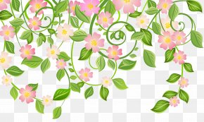 Spring Blossom Decoration With Leaves Transparent Clip Art Image - Spring Blossom Clip Art PNG