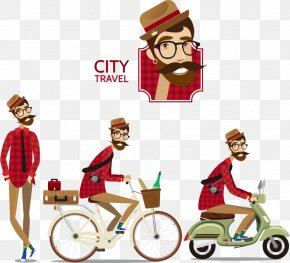 Men's Cycling Vector Illustration - Euclidean Vector Royalty-free Illustration PNG