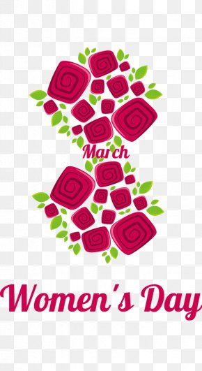 March 8 Women's Day Rose Red Decoration Pattern - International Womens Day March 8 PNG