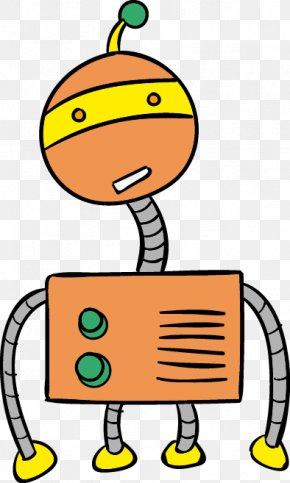 Vector Orange Cartoon Robot Surprise - Robot Internet Bot Clip Art PNG