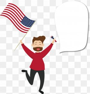 Holding The American Flag - Flag Of The United States Cartoon Clip Art PNG