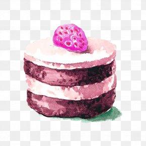 Strawberry Cake Watercolor Picture Material - Cupcake Mooncake Watercolor Painting PNG