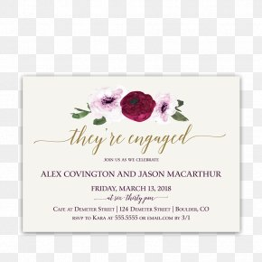 Flower Invitation - Wedding Invitation Engagement Party Floral Design PNG
