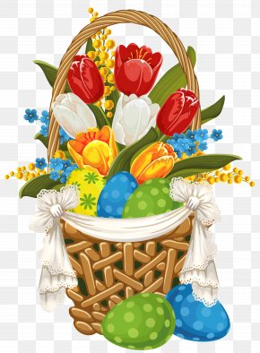 Painted Easter Basket With Easter Eggs Clipart - Flowerpot Clip Art PNG
