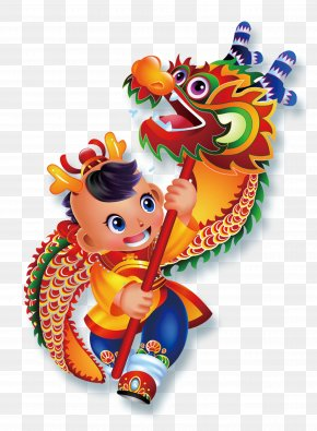 Children Dance Dragon - Dragon Dance Lion Dance Chinese New Year Cartoon Illustration PNG