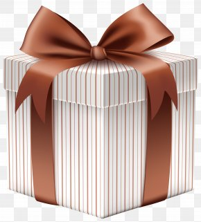 Gift Box With Brown Bow Clipart Image - Christmas Gift Paper Clip Art PNG