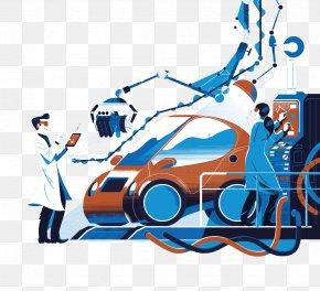 Blue Pattern Technology Technician Excavator - Technician Graphic Design PNG