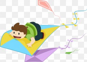 The Boy's Kite Vector - Flight Kite Child PNG
