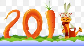 Bunny And Carrot Vector Material Consisting Of 2011, - Chinese New Year Rabbit Chinese Calendar PNG