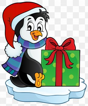 Penguins - Penguin Santa Claus Christmas Gift Clip Art PNG