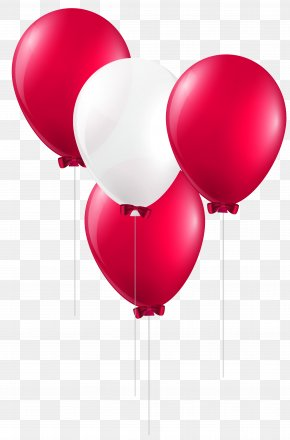 Red And White Balloons Clip Art Image - Balloon Red Clip Art PNG